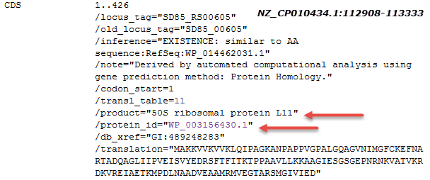 Image of CDS feature for 50S ribosomal protein L11 as annotated on NZ_CP010434.1. The CDS cross-references nonredundant protein WP_003156430.1