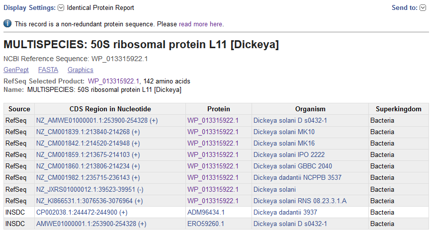 Image of the Identical protein report page for non-redundant RefSeq protein WP_013315922.1