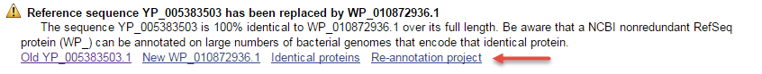 Image of informative message added to suppressed bacterial YP/NP accessions.