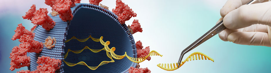 3D image of a scientist extracting DNA from a coronavirus