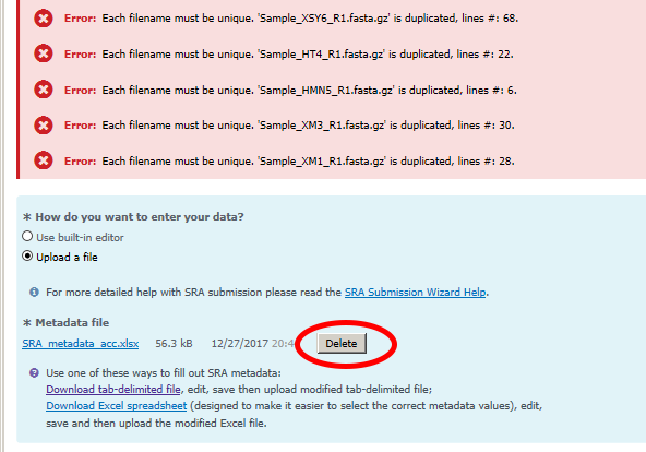 Troubleshooting SRA submission in the SRA Submission Portal