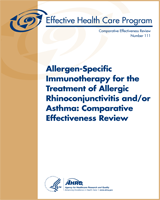 Cover of Allergen-Specific Immunotherapy for the Treatment of Allergic Rhinoconjunctivitis and/or Asthma: Comparative Effectiveness Review