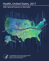 Health of US 2017 report cover depicting blue and green map of USA