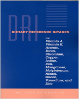 Cover of Dietary Reference Intakes for Vitamin A, Vitamin K, Arsenic, Boron, Chromium, Copper, Iodine, Iron, Manganese, Molybdenum, Nickel, Silicon, Vanadium, and Zinc