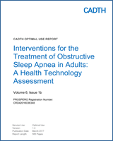 Cover of Interventions for the Treatment of Obstructive Sleep Apnea in Adults: A Health Technology Assessment