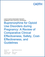 Cover of Buprenorphine for Opioid Use Disorders during Pregnancy: A Review of Comparative Clinical Effectiveness, Safety, Cost-Effectiveness, and Guidelines