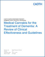 Cover of Medical Cannabis for the Treatment of Dementia: A Review of Clinical Effectiveness and Guidelines