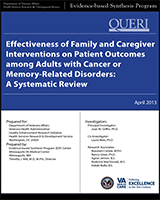 Cover of Effectiveness of Family and Caregiver Interventions on Patient Outcomes Among Adults with Cancer or Memory-Related Disorders: A Systematic Review