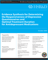 Cover of Evidence Synthesis for Determining the Responsiveness of Depression Questionnaires and Optimal Treatment Duration for Antidepressant Medications