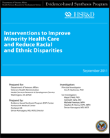 Cover of Interventions to Improve Minority Health Care and Reduce Racial and Ethnic Disparities