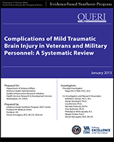 Cover of Complications of Mild Traumatic Brain Injury in Veterans and Military Personnel: A Systematic Review