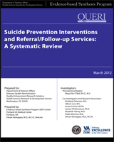 Cover of Suicide Prevention Interventions and Referral/Follow-Up Services: A Systematic Review