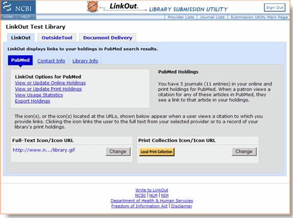 LinkOut Library Submission Utility front page